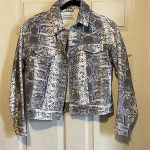 Urban Outfitters Snake Print Jean Jacket
